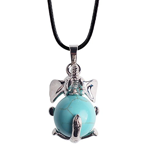 JOYA GIFT Good Luck Elephant Charm Necklace Silver Plated Gemstone Crystal Pendant Two Free Chains