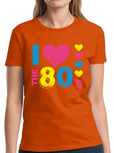 Pekatees Women's I Love The 80's T Shirts For Women 80s Disco Party Perfect 80s Costume Orange ()