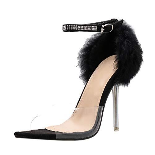 (Women Ankle Strap Stiletto High Heel Sandals - Open Toe Pumps Shoes with Clear Plastic Dress Sandal Black)