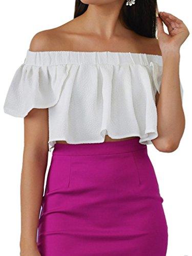 Joeoy Women's Off Shoulder Short Sleeve Ruffle Crop Top Blouse-L