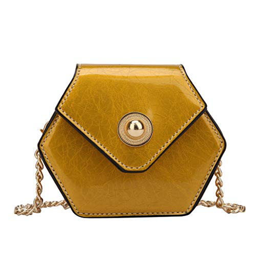DZTZ Women Pearl Leather Crossbody Bag Candy Cute Color Messenger Bag Chain Beach Bag (Yellow)