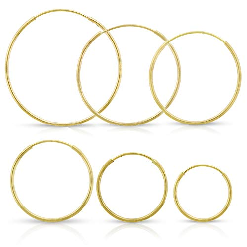 - Elegant 14K Yellow Gold Endless Tube Hoop Continuous Thin Light-Weight Round Earrings Sizes 10mm - 20mm (10mm)