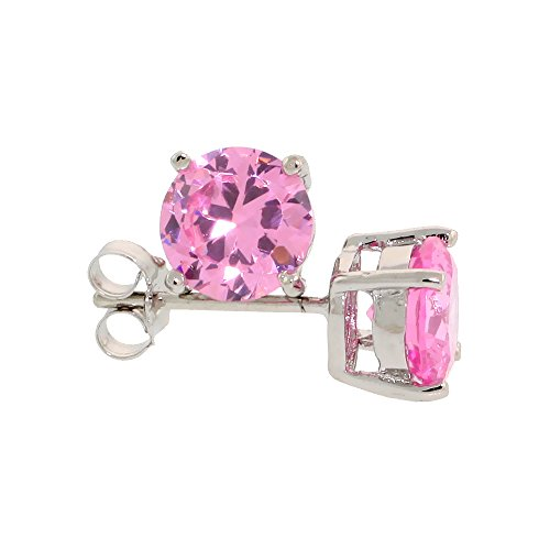 Sterling Silver CZ Pink Earrings Studs Pink Color 7 mm Platinum Coated Basket Setting 2.5 carats/pair -