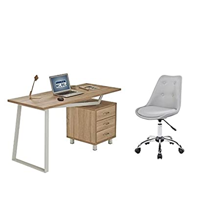 2 Piece Mid Century Modern Office Set With Armless Desk Chair And Computer  Desk