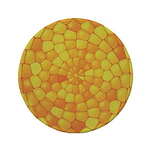 Non-Slip Rubber Round Mouse Pad,Yellow,Abstract Stained Irregular Glass Mosaic Patterns Crystal Light Decor Illustration,Orange Yellow,7.87