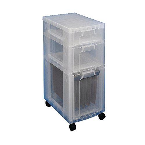 transparente 3 cajones de 7, 12 y 25 litros Cajonera pl/ástica Really Useful