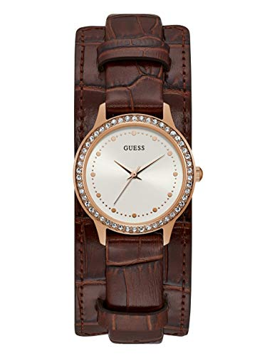 GUESS Women's Stainless Steel Quartz Watch with Leather Calfskin Strap, Brown, 29 (Model: U1150L2) (Rhinestone Guess Watch)