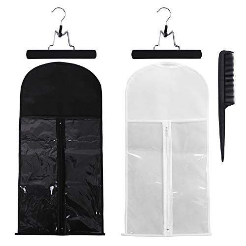 2 Pack Hair Extensions Storage Bag With Wooden Hanger Holder Dust-Proof Wig Storage Bag Protection Carrier Case with Zipper for Travel and Daily Use (Black and White)