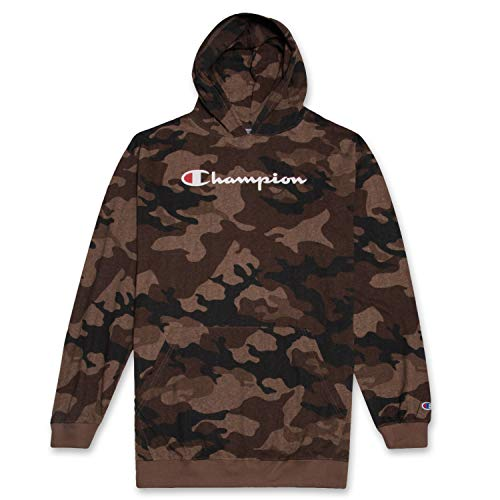 (Champion Mens Big and Tall Long Sleeve Pullover Jersey Lightweight Hoodie, Brown CAMO 3XT)
