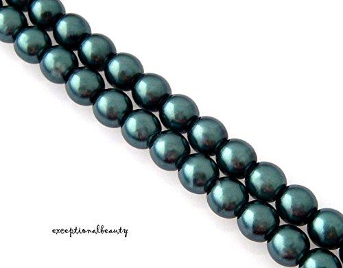 - 50 Exquisite Cultura Preciosa Czech Glass Pearls Blue 6mm Crystal Pearl Beads