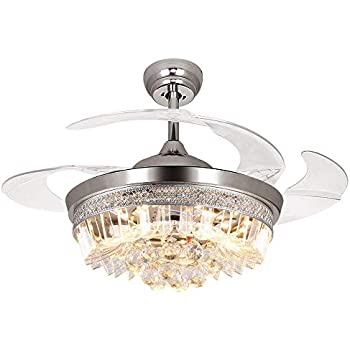 Rs lighting retractable blades ceiling fan 42 inch with - Bedroom ceiling fans with remote control ...