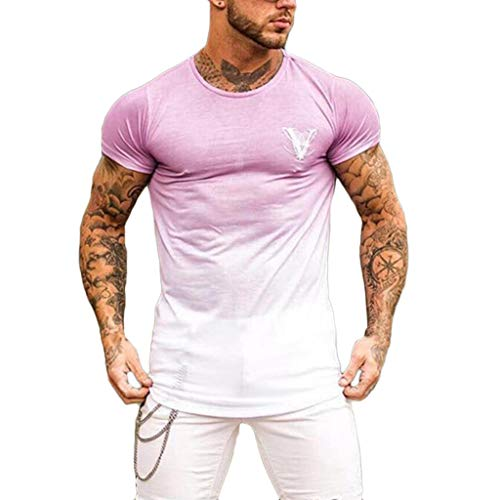 - Zackate Men's Round Collar Gradient Color Short Sleeve T-Shirt Elastic Hem Casual Fitness Shirt Pink