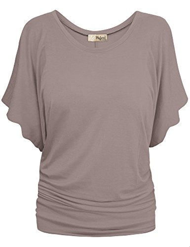 (HyBrid & Company Womens Boat Neck Dolman Top Shirt KT44130 Taupe M)