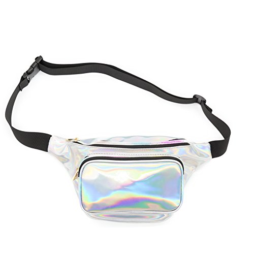 Morlsen Womens Holographic Fanny Pack Fashion Girls Shiny PU Waist Bag for Ride Beach Travel Rave Music Festival