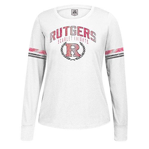 NCAA Rutgers Scarlet Knights Women's Long Sleeve Laurel Essential Tee, White, Medium