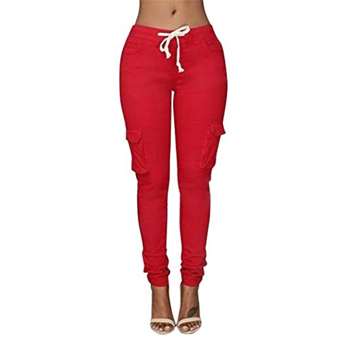 Casual Solid Stretch Drawstring Skinny Pants For Women Trousers (M, ()