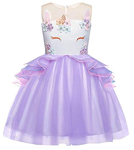 Toddler Flower Girl Unicorn Costume Dress Ruffles Party Wedding Princess -