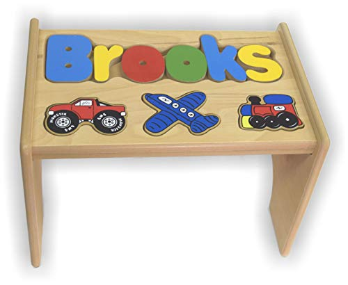 - babykidsbargains Personalized Transportation Wooden Puzzle Stool- Stool Color: Natural, Letter Color: Primary, 1-8 Letters