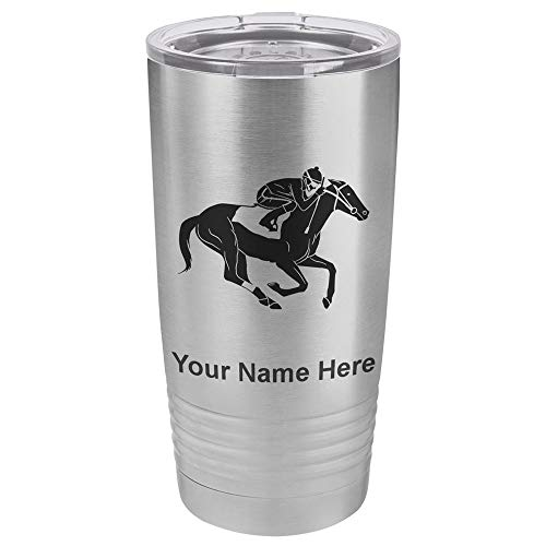 - 20oz Tumbler Mug, Horse Racing, Personalized Engraving Included (Stainless Steel)