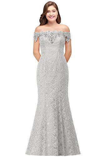Mermaid Off Shoulder Floor Length Dress Plus Size,Silver,24W
