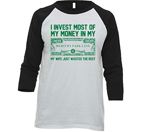 Invest Money in My Mercury Park Lane Car Lover Enthusiast Baseball Raglan Shirt 2XL White/Black