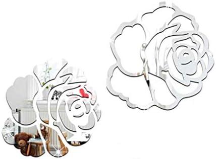 Onior ローズ3DミラーウォールステッカーDIYフラワーミラーデカールアクリルルームホームデコレーション壁紙クリエイティブで便利