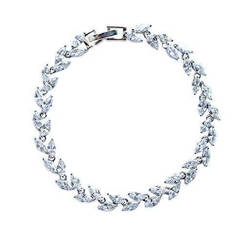 ZeusGem Silver Plated Crystal Tennis Bracelet Bridal Wedding Jewelry CZ tennis Bracelets for Women Girls by ZeusGem