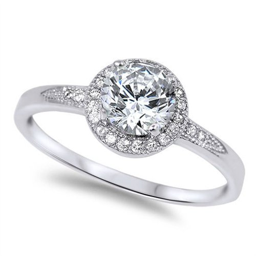 Oxford Diamond Co Halo Set Solitaire Cubic Zirconia Promise Engagement Ring .925 Sterling Silver Ring Size 9