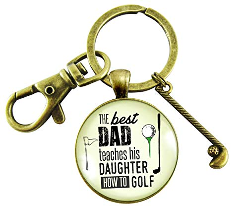 Golfer Keychain Father Gift From Daughter Best Dad Teaches Golf Club Charm Mens Key Ring