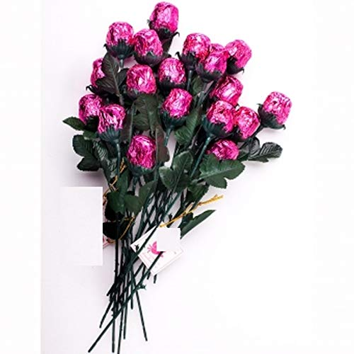 One Dozen Pink Chocolate Roses - Solid Premium 9 1/2