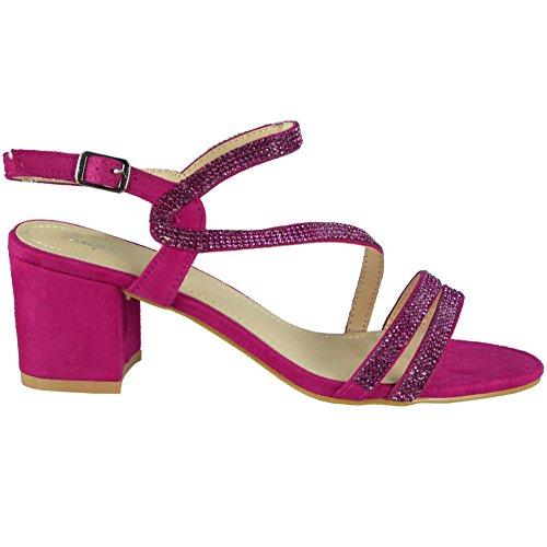 Loud Look Womens Diamante Sandals Heels Ladies Wedding Bridesmaid Bridal Party Shoes Size 3-8 Fuchsia VJpLUP6USW