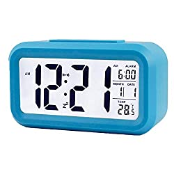 NS Large Digital Display Smart Electronic Alarm Clock Blue 1 Pack