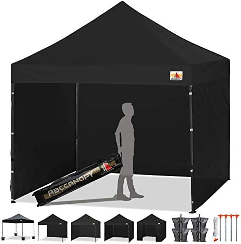 ABCCANOPY Pop-up Canopy Tent 8×8 Commercial Instant Tents Outdoor Canopies Easy to Set Up with 3 Side Walls and 1 Door Wall,Bonus Roller Bag, 4 Sandbags and Stakes 30 Multi Colors