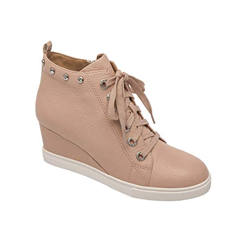 - Flint | Lace Up Leather Sneaker Wedge with Bezel Set Crystal Adornments Blush Pebbled Leather 7.5M