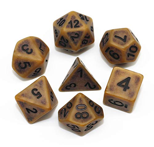 HD DND Dice Set Ancient RPG Dice for Dungeons and Dragons(D&D) Pathfinder MTG Tabletop Role Playing Game Polyhedral 7-Die Dice Group (Coffee Brown)