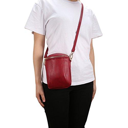 et Hombre Rosa y de bolsos del Mensajero Piel Schleife Rojo Bolsas Bolsos hombro Retro Shoppers cuero Bolsos portatiles Bandolera mano Mujer de Piel Bandoleras Organizadores 8CtwqwY5