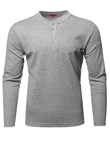 Premium Quality Thermal Henley Crew Neck Long Sleeve T-Shirt Heather Gray M