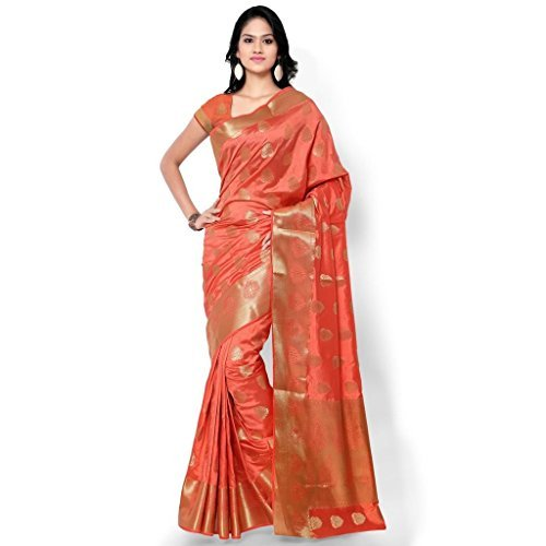 Varkala Silk Sarees Women's Art Silk Kanchipuram Saree With Blouse Piece_(ND1007TM_Coral) by Varkala Silk Sarees