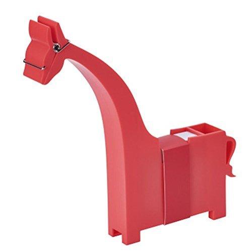 Aimeio Creative Cute Cartoon Giraffe Shape Memo Clip Holder Stand Sticky Notes Dispenser Organizer Pen Holder Desk Decor for Office School Supplies,Include 200 Sheets Memo,2.67''x2.71'',Red