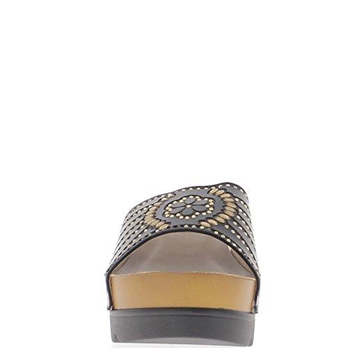 Mulas de negro cuña en el tacón de 7cm y 3cm suelas anchas de diamantes de imitación