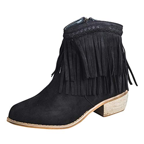 Respctful✿ Women's Fringe Ankle Boot- Slip on Cowboy Chunky Heel Ankle Short Boots Suede Retro Booties with Zipper