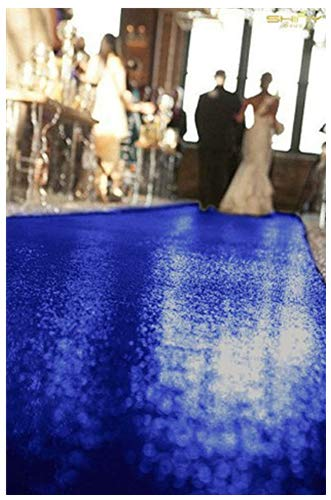 ShinyBeauty Aisle Runner Tape-Royal Blue-4FTX15FT,Shimmer Sequin Fabric Wedding Floor Runner,Glitter Carpert Runner