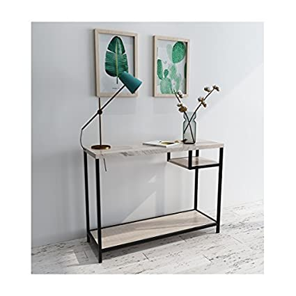 Merveilleux Roomfitters Hall Console Table With Side Storage Shelf Rectangle Modern Oak  Entryway Table,Side Storage