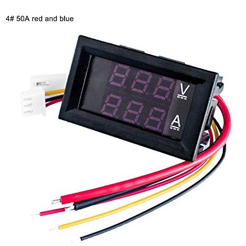 dezirZJjx Digital Voltmeter Ammeter, 10/50/100A DC 0-100V LED Dual Display Digital Voltmeter Ammeter Tester Gauge 4#