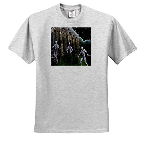 Sandy Mertens Halloween Designs - Zombie Monsters in Graveyard on Halloween Night, 3drsmm - T-Shirts - Adult Birch-Gray-T-Shirt 4XL (ts_290249_24)
