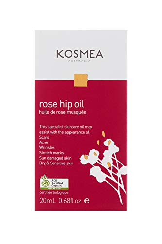 Kosmea 100% Certified Organic Rosehip Oil – ACO Certified - Anti-Aging Benefits for Face & Body – Premium Quality Super-Critically Extracted Oil Using The Entire Fruit, Seed & Skin - 0.68 fl oz