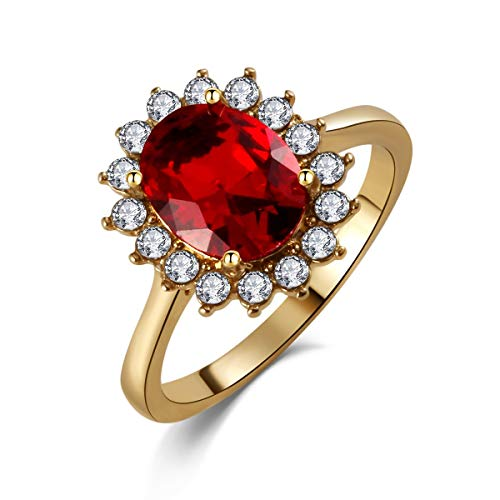 - SR Engagement Wedding Rings for Women 10k Yellow Gold Plated Princess Diana Kate Bands Oval Red Ruby Cubic-Zirconia, Size 6-9