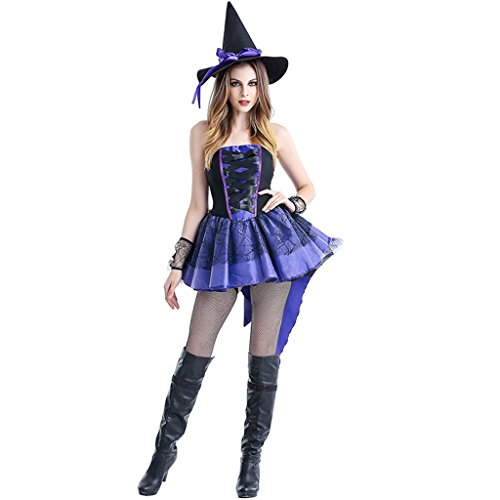 HUGGUH Female Witch Cosplay Disfraces Halloween Sexy Purple Witch Costume (Disfraces De Halloween Chinos)