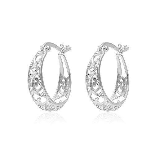 (Sterling Silver Diamond-Cut Filigree Hoop Earrings Size 19mm)