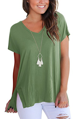 (Womens T Shirt Short Sleeve Tops and Shirts V Neck Solid Army Green M)
